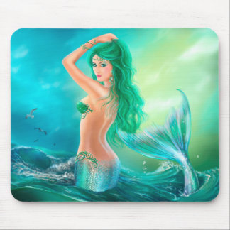 Mermaid in the Sunset with Green Hair Mouse Pad