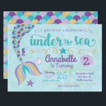 "Mermaid Invitation Under The Sea Invite<br><div class=""desc"">This purple,  teal and gold mermaid invitation is perfect for your under the sea celebration! Customize with your details to create a one of a kind birthday mermaid tail invite!</div>"