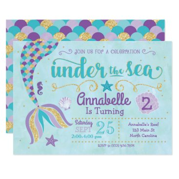 YourMainEvent Mermaid Invitation Under The Sea Invite
