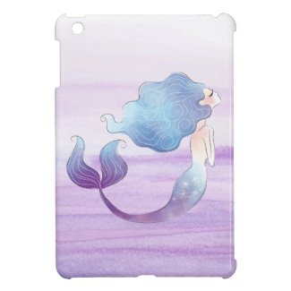 Mermaid iPad Mini Case Lavender Ombre Background