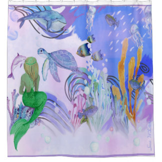 Mermaid Is Watching Sea Life Shower Curtain