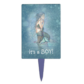Mermaid It s a Boy Gender Reveal Baby Shower Cake Toppers