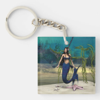 Mermaid Double-Sided Square Acrylic Keychain