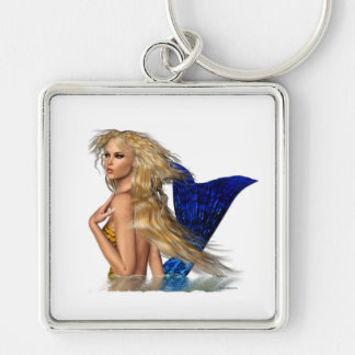 Mermaid Keyring Silver-Colored Square Keychain