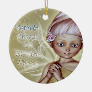 Mermaid Kisses Double-Sided Ceramic Round Christmas Ornament