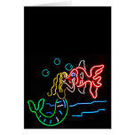 Mermaid Kissing Fish in Neon Greeting Cards