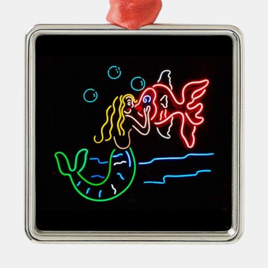 Mermaid Kissing Fish in Neon Metal Ornament