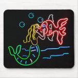 Mermaid Kissing Fish in Neon Mouse Pad