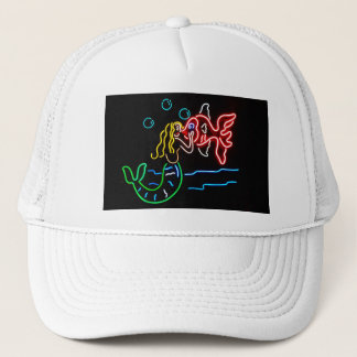 Mermaid Kissing Fish in Neon Trucker Hat