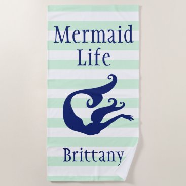 Beach Themed Mermaid Life Mint Striped Beach Towel