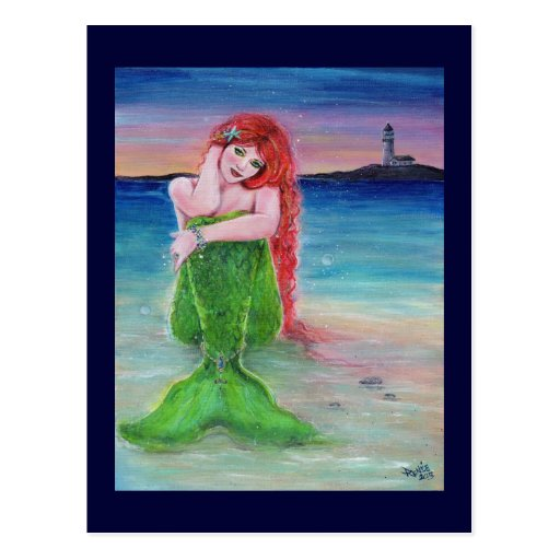 Mermaid lighthouse postcard by Renee Lavoie