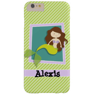 Mermaid; Lime Green & White Stripes Barely There iPhone 6 Plus Case
