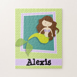 Mermaid; Lime Green & White Stripes Jigsaw Puzzles