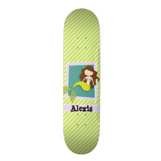 Mermaid; Lime Green & White Stripes Skateboard
