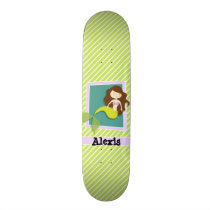 Mermaid; Lime Green & White Stripes Skateboard Deck