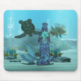 Mermaid - Lion Fish - Turtle - Underwater scene Mouse Pad