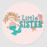 Mermaid Little Sister Round Stickers