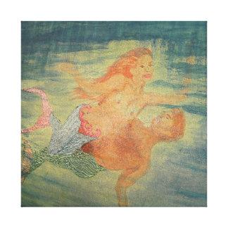 Mermaid Love grotto Canvas Print