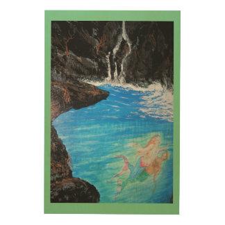 Mermaid Love grotto Wood Print