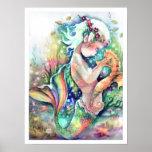 """""""Mermaid Loves her Seahorse"""" Poster"""