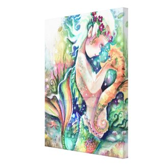 """Mermaid loves Seahorse"" Wrapped Canvas Canvas Print"
