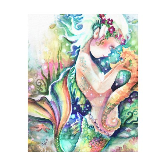 "Mermaid Gifts Mermaid Decor Mermaid Art Print Mother S: ""Mermaid Loves Seahorse"" Wrapped Canvas"