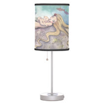 Mermaid Lullaby Cute Mother and Baby Nursery Art Table Lamp