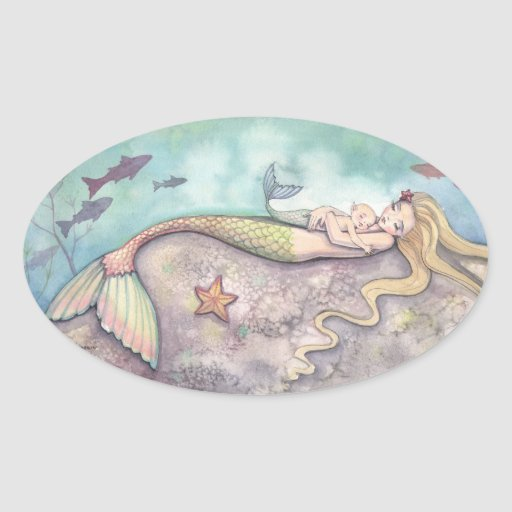 Mermaid Lullaby Fantasy Art Stickers