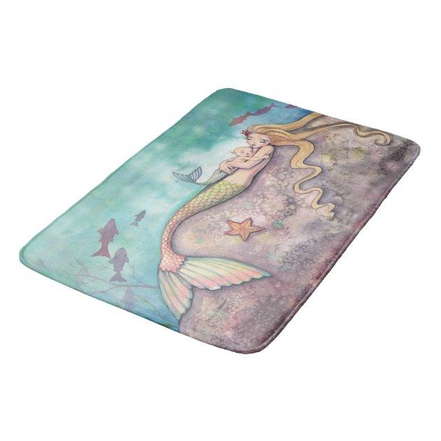 Mermaid Lullaby Mermaids Fantasy Art Illustration Bath Mat ...
