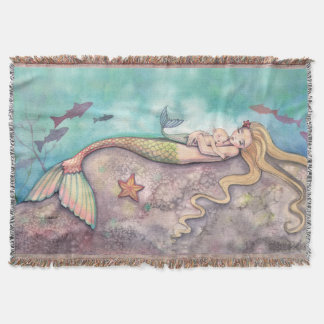 Mermaid Lullaby Mother and Baby Fantasy Art Throw