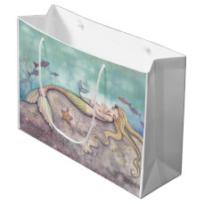 Mermaid Lullaby Mother and Baby Mermaid Fantasy Large Gift Bag