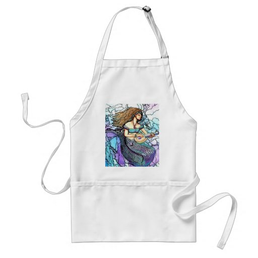 Mermaid Lute Playing Electric Turquoise Blue Water Adult Apron