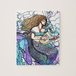Mermaid Lute Playing Electric Turquoise Blue Water Puzzles