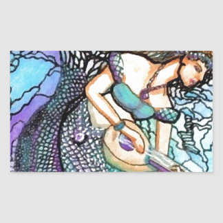 Mermaid Lute Playing Electric Turquoise Blue Water Rectangular Sticker