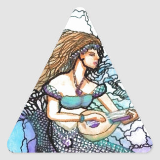 Mermaid Lute Playing Electric Turquoise Blue Water Triangle Sticker
