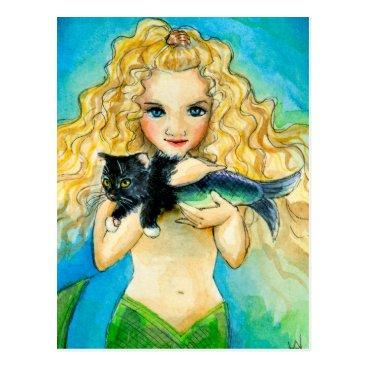 Beach Themed Mermaid, mercat art painting post card