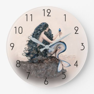 Beach Themed Mermaid Mermaids Fantasy Myth Large Clock