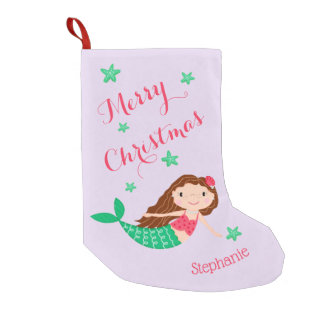Mermaid Merry Christmas Personalized Purple Small Christmas Stocking