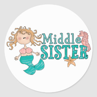 Mermaid Middle Sister Classic Round Sticker