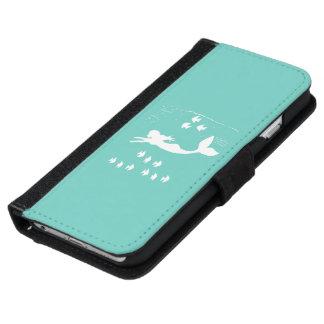 Mermaid Mint White Silhouette Phone Wallet Case