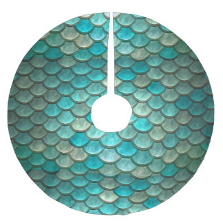 Mermaid minty green fish scales pattern brushed polyester tree skirt
