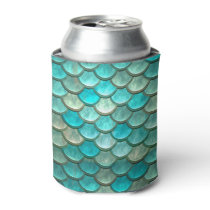 Mermaid minty green fish scales pattern can cooler