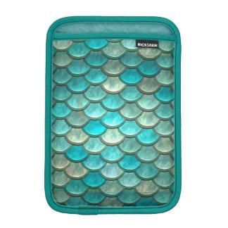 Mermaid minty green fish scales pattern iPad mini sleeve
