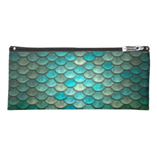Mermaid minty green fish scales pattern pencil case