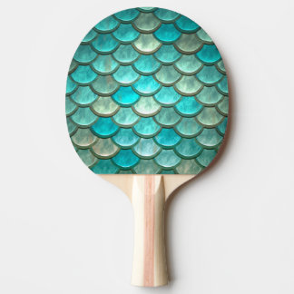 Mermaid minty green fish scales pattern Ping-Pong paddle