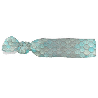 Mermaid minty green fish scales pattern ribbon hair tie