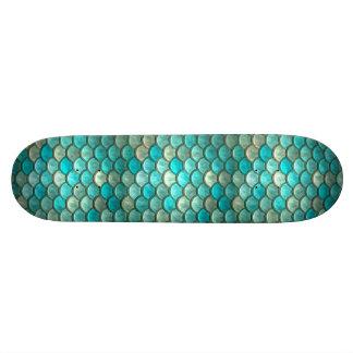 Mermaid minty green fish scales pattern skateboard