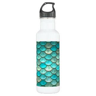 Mermaid minty green fish scales pattern stainless steel water bottle