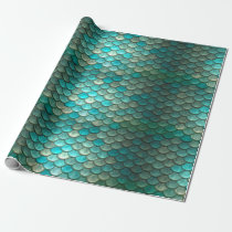 Mermaid minty green fish scales pattern wrapping paper