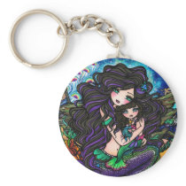 Mermaid Mom & Baby Jellyfish Fantasy Art Keychain